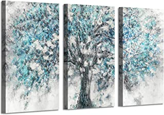 Abstract Artwork Landscape Wall Art: Blooming Lonely Beautiful Autumn Tree Prints on Wrapped Canvas Set (34