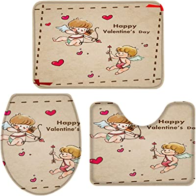Happy Valentine's Day 3 Pieces Bathroom Rugs, Anti-Slip Bath Rug Absorbent Bath Mats Contour Mat and Toilet Lid Cover, Perfect Carpet for Tub, Shower, Bath Room Angel Cupid Launch Love Vintage Theme