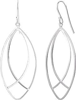 ELLEN TRACY Sterling Silver Navette Dangle Drop Earrings