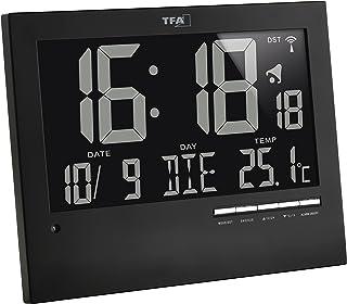 TFA Reloj Digital Mural Negro con termómetro