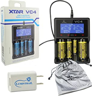 XTAR VC4 Li-ion Ni-MH Battery Charger Premium USB LCD Display Bundle with a Lumintrail USB Wall Adapter