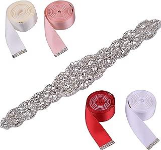 Rhinestone Belt with 4 Color Ribbon Sashes Easy to Replace,Women Bridal Sash Belt Crystal belt for Wedding