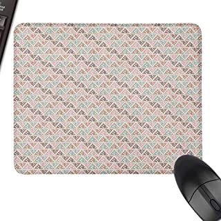 Polyester Cloth Mouse Pad Abstract Pastel Triangles with Polka Dots Pattern Bohemian Inspirations Geometric Design for Office, Gaming, Learning,9.8