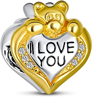 I Love You Teddy Bear Heart CZ Charm Bead for Women 2 Tone 14K Gold Plated Sterling Silver Fits European Bracelet