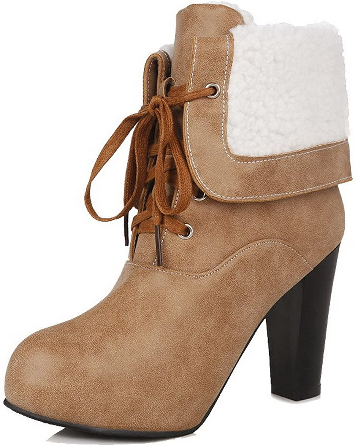 WeiPoot Women's Lace-up High-Heels PU Solid Low top Boots