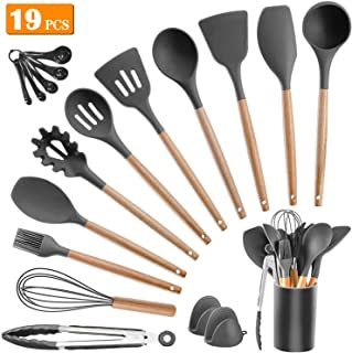 Kitchen Utensil Set Silicone Cooking Utensils - SZBOB 19pcs Kitchen Utensils Tools Wooden Handle Spoons Silicone Utensil Set Spatulas Set Cookware Turner Tongs Whisk Kitchen Gadgets with Holder