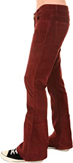 Run & Fly Mens 70s Retro Vintage Wine Stretch Corduroy Bell Bottom Flares