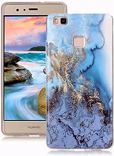 Yunbaoz Funda Compatible para Huawei P9 Lite Mármol, Diseño Mármol Carcasa Suave Goma Silicona Soft Marble Case Suitable for Huawei P9 Lite - Mar Azul/Dorado