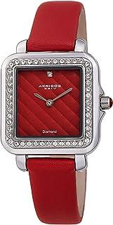Women's Swarovski Crystal Square Watch - Embossed Argyle Dial, Genuine Diamond at 12 O'clock On Genuine Leather Strap - AK1106