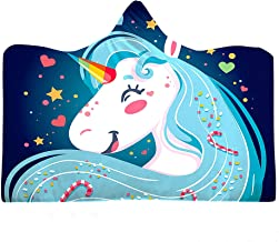 Hooded Unicorn Blanket Wearable Soft Warm Plush Fleece Lined Throw Blankets For Girls Child Kid Size By Easy Living