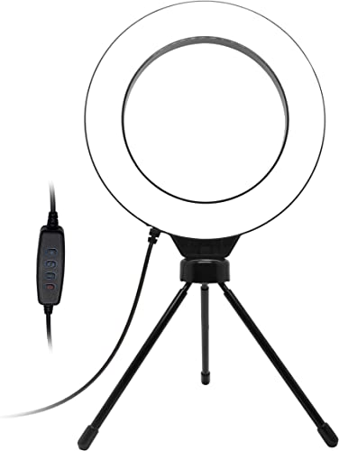 """popular Blucoil 6"""" Dimmable Selfie Ring Light with Desk Tripod Stand, 3 Light Modes & 11 Brightness Levels, Rotatable Ball lowest Head, and 6.23-FT USB Charging Cable lowest for Photography, Videography, and Streaming outlet online sale"""