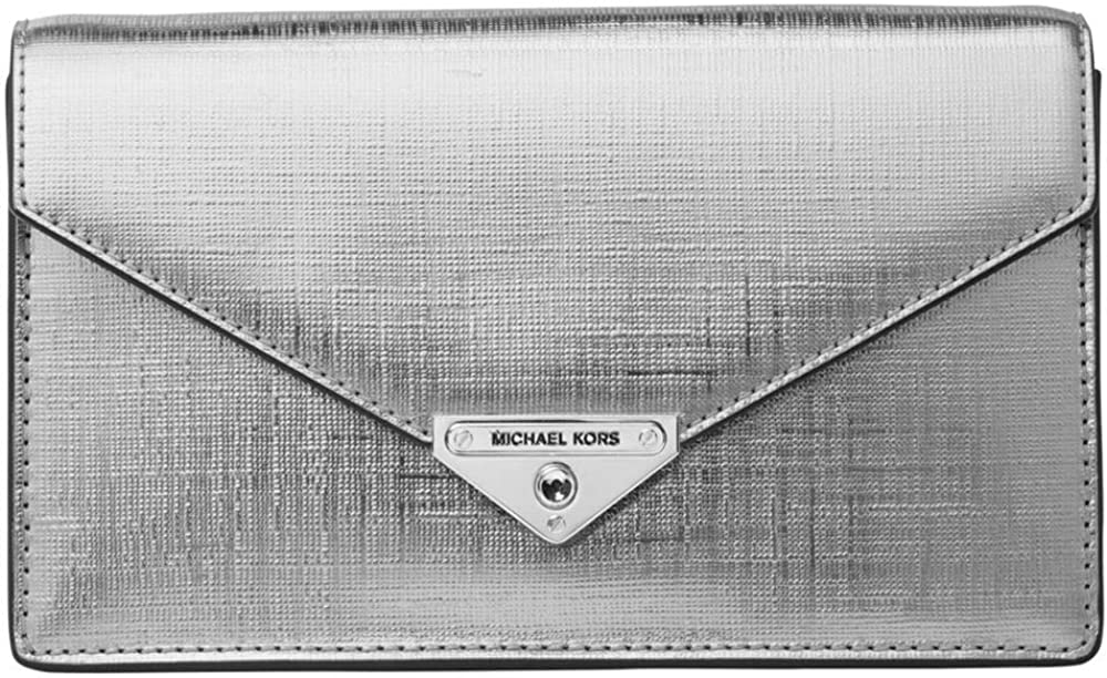 Michael kors grace, pochette a bustina per donna, in pelle metallizzata 30H9SGHC6M