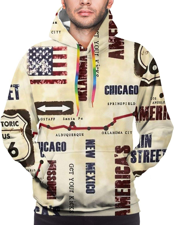Hoodie For Men Women Unisex American Map Main Street Chicago Hoodies Fashion Sweatshirt Drawstring