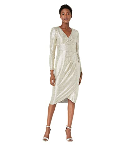 Adrianna Papell Foiled Jersey Pleat Wrap Cocktail Dress (Gold) Women