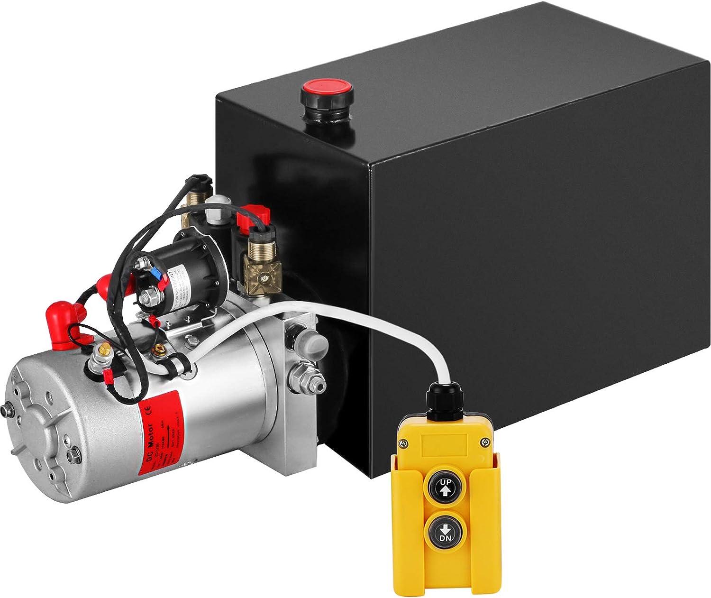 VEVOR Bomba Hidráulica de Doble Acción Remolque de Descarga de 12V Depósito de Metal de 15L para Remolque de Descarga Bomba de Remolque Unidad de Potencia Hidráulica Accesorios