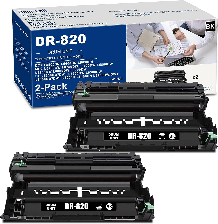 (2 PK Black) DR820 DR-820 Drum Unit High Yield Compatible Replacement for Brother HL L6200DW/DWT L6250DW L6300DW L6400DW/DWT L5000D L5100DN L5200DW/DWT L6250DW L6300DW L5000D L5100DN Printer