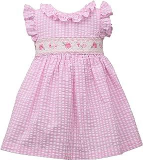Pink Gingham Flutter Sleeveless Seersucker Smocked Girls Dress