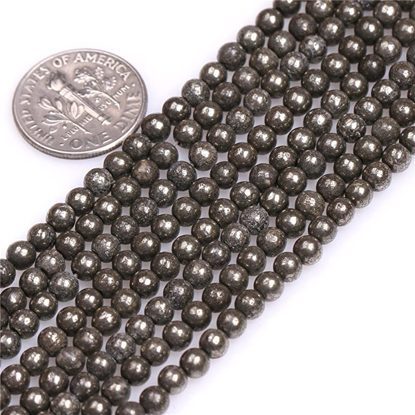 4mm Pyrite Beads for Jewelry Making Natural Gemstone Semi Precious Round Silver Gray 15