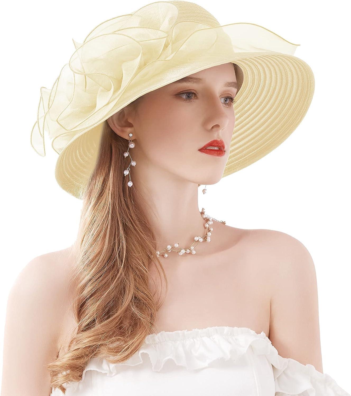 ELLYDOOR Kentucky Derby Hat Women Organza Fascinator Church Hat Bridal Wedding Tea Party Hat Wide Brim Sun Hat