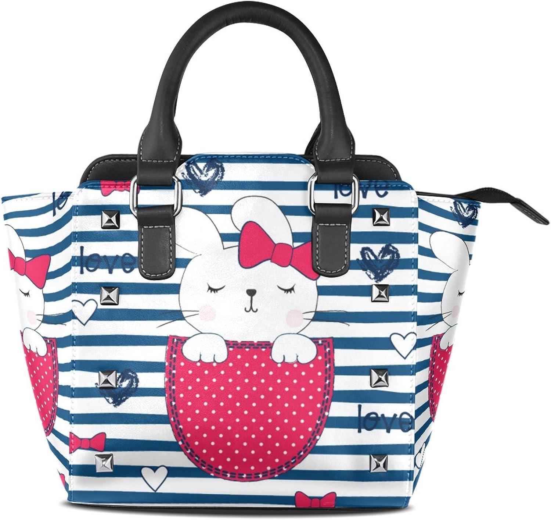 My Little Nest Women's Top Handle Satchel Handbag Cute Sleeping Bunny Girl Ladies PU Leather Shoulder Bag Crossbody Bag