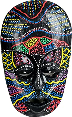 African Mask Lucky in Love Aboriginal Style Hand Painted Wooden Mask Wall Hanging Decor