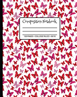 Composition Notebook: Beautiful Pink Butterflies Nifty College Ruled Blank Lined Workbook for Teens Kids Students Girls fo...
