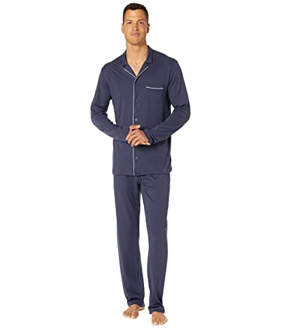 Hanro Night Day Long Sleeve Long Pajama Set (Black Iris) Men