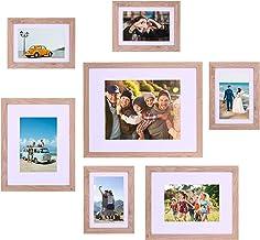مجموعة إطار الصور الخشبي ATOBART من 7، مجموعة إطارات متعددة للصور الفوتوغرافية متعددة الأحجام، أدوات التركيب متضمنة للعرض ...