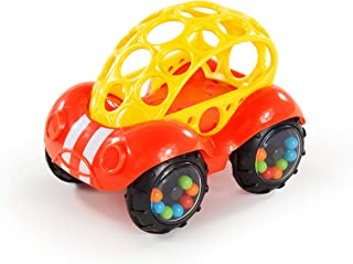 Bright Starts Easy Grasp Push Vehicle Toy – Ages 3 Months +, Rattle & Roll Buggie, Red