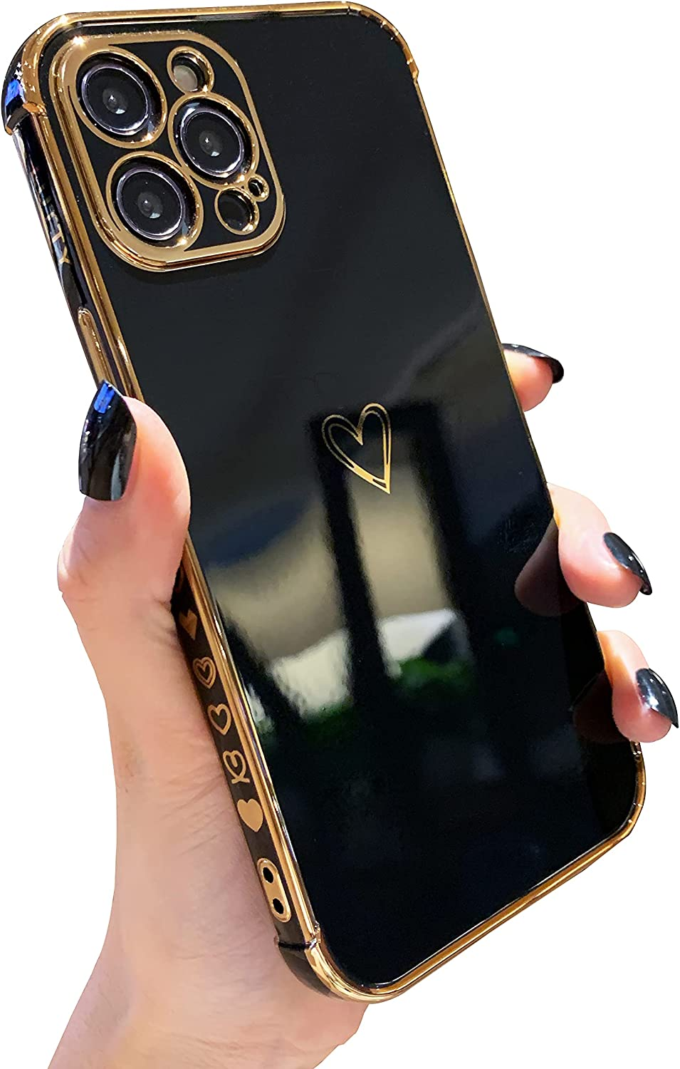 LUTTY Compatible with iPhone 12 Pro Max Case, Luxury Electroplate Edge Bumper Case, Full Camera Protection & Raised Reinforced Corners Shockproof Soft TPU Case Cover (6.7 inch) -Candy Black