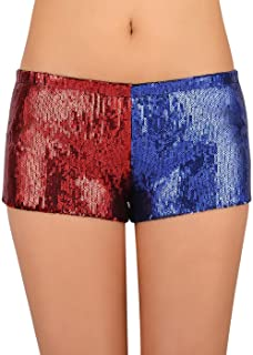 72ee754a HDE Women's Red and Blue Metallic Sequin Booty Shorts For Harley Misfit  Halloween Costume