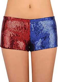 HDE Women's Red and Blue Metallic Sequin Booty Shorts For Harley Misfit Halloween Costume