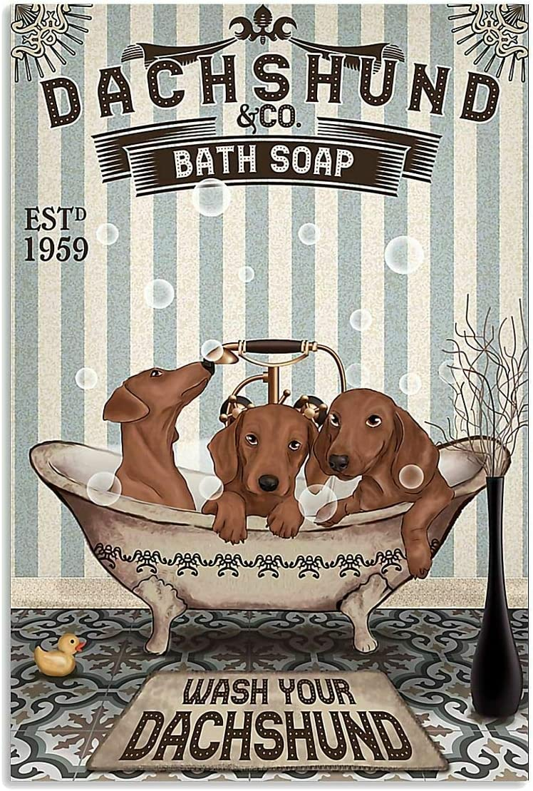 Metal Sign Dachshund Bath Vintage Style Metal Sign Iron Painting for Indoor & Outdoor Home Bar Coffee Kitchen Wall Decor 8 X 12 Inch