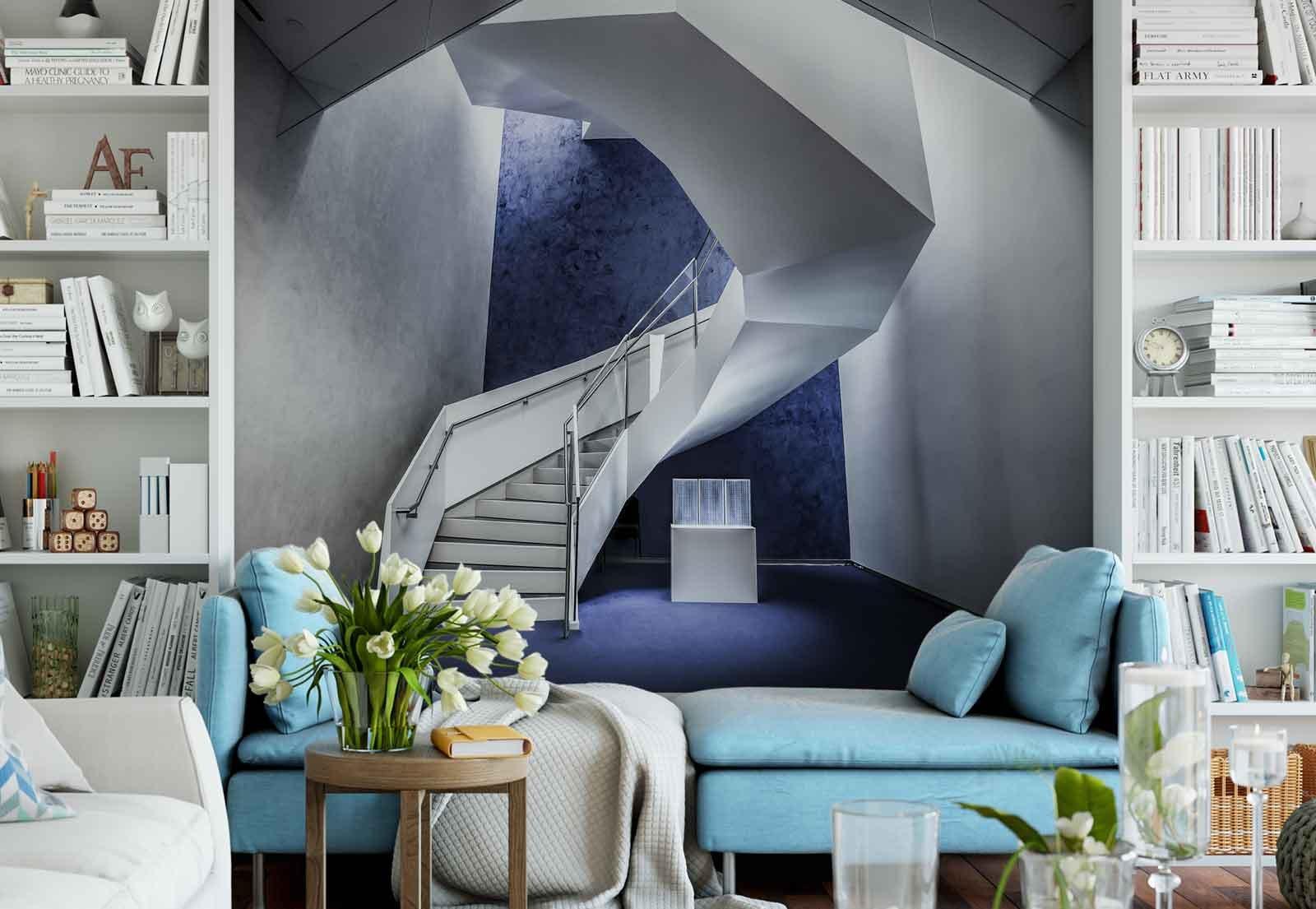Papel Tapiz Fotomural - Habitación Escalera De Caracol - Tema Arquitectura - XXL - 416cm x 290cm (an. x alto) - 4 Tiras - impreso en papel 130g/m2 EasyInstall - 1X-1173545VEXXXXL: Amazon.es: Bricolaje y herramientas