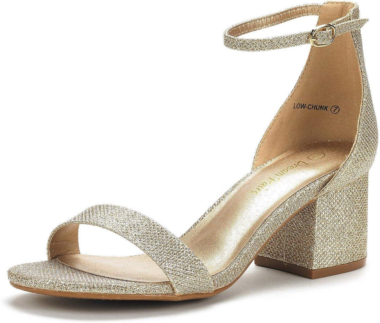 格安 DREAM PAIRS Women's Low-Chunk 新商品 Heel Low Sandals Pump