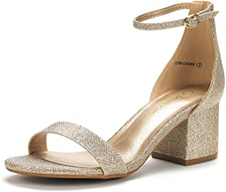 DREAM PAIRS Women`s Low-Chunk Low Heel Pump Sandals with Ankle Strap