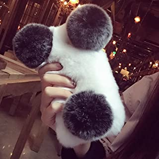 Plush Cover for Samsung Galaxy S7 Case LAPOPNUT Cute Panda Case Luxury Soft Fluffy Furry Shockproof Back Cover with Chic Bling Crystal Diamond-White&Black