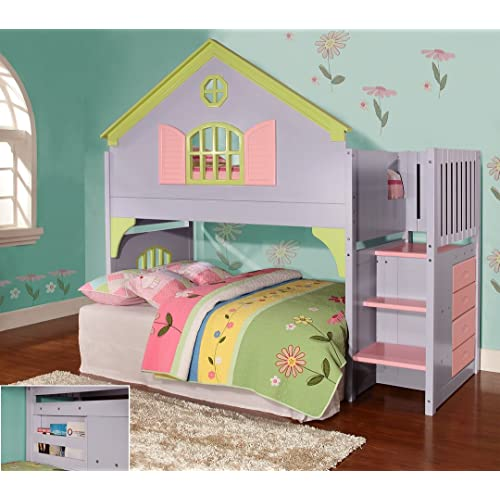 Bunk bed with stairs for girls Mid Sleeper Twin Doll House Stair Step Loft Amazoncom Girls Bunk Bed Amazoncom