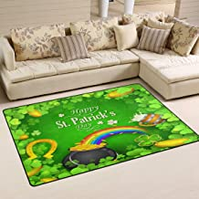 Doormat Saint Patricks Day Shamrock 31x20 inch Welcome Holiday Floormat, Clover Rainbow Gold Coin Outdoor Indoor Non Slip ...