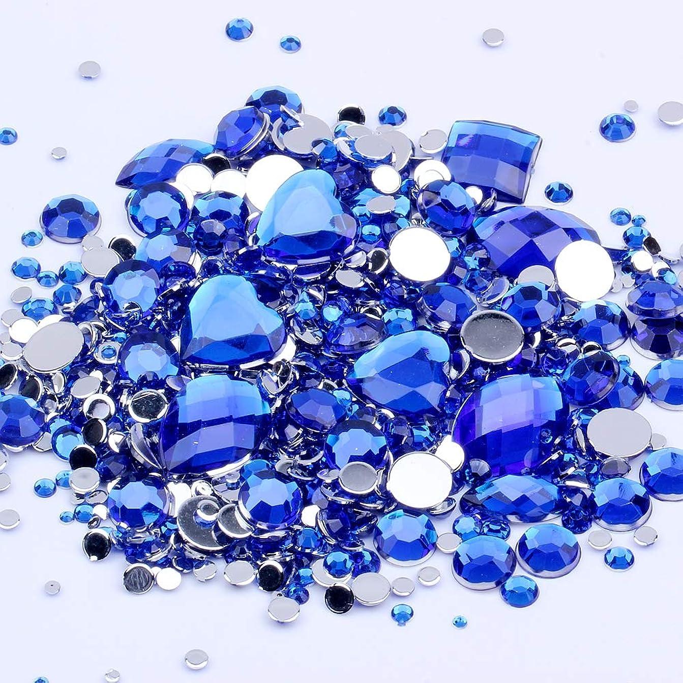 慢ジレンマ読みやすい混合サイズ1000ピース多くの色アクリル非修正フラットバックラインストーンネイルアート結婚式の服の装飾のための宝石 (09 ブルー)