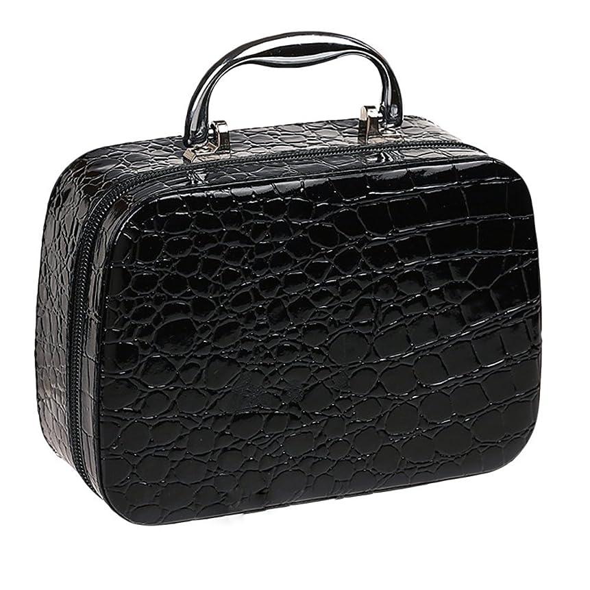 ジョージハンブリー硬い干渉ゴシレ Gosear PU レザー 化粧品 メイク ボックス ケース 化粧品 ハンドバッグ ミラー クロコダイル パターン 黑色