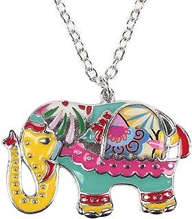 BONSNY Love Colorful Enamel Zinc Alloy Metal Elephant Necklace Jungle Animal Pendant Unique Design