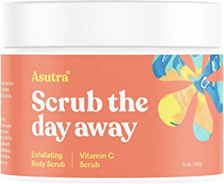 ASUTRA Himalayan Sea Salt Body Scrub Exfoliator (Vitamin C), 12 oz   Ultra Hydrating, Gentle, Moisturizing   All Natural & Organic Jojoba, Sweet Almond, Argan Oils