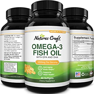 Omega 3 Fish Oil Supplement - EPA DHA Fish Oil Omega 3 Supplement with Immune Booster Brain Vitamins - Burpless Fish Oil 1...