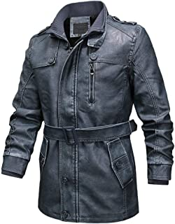 Men Leather Mid Coat with Belt, Vintage Zipper Sherpa Lined Stand Collar Warm Coats for Men