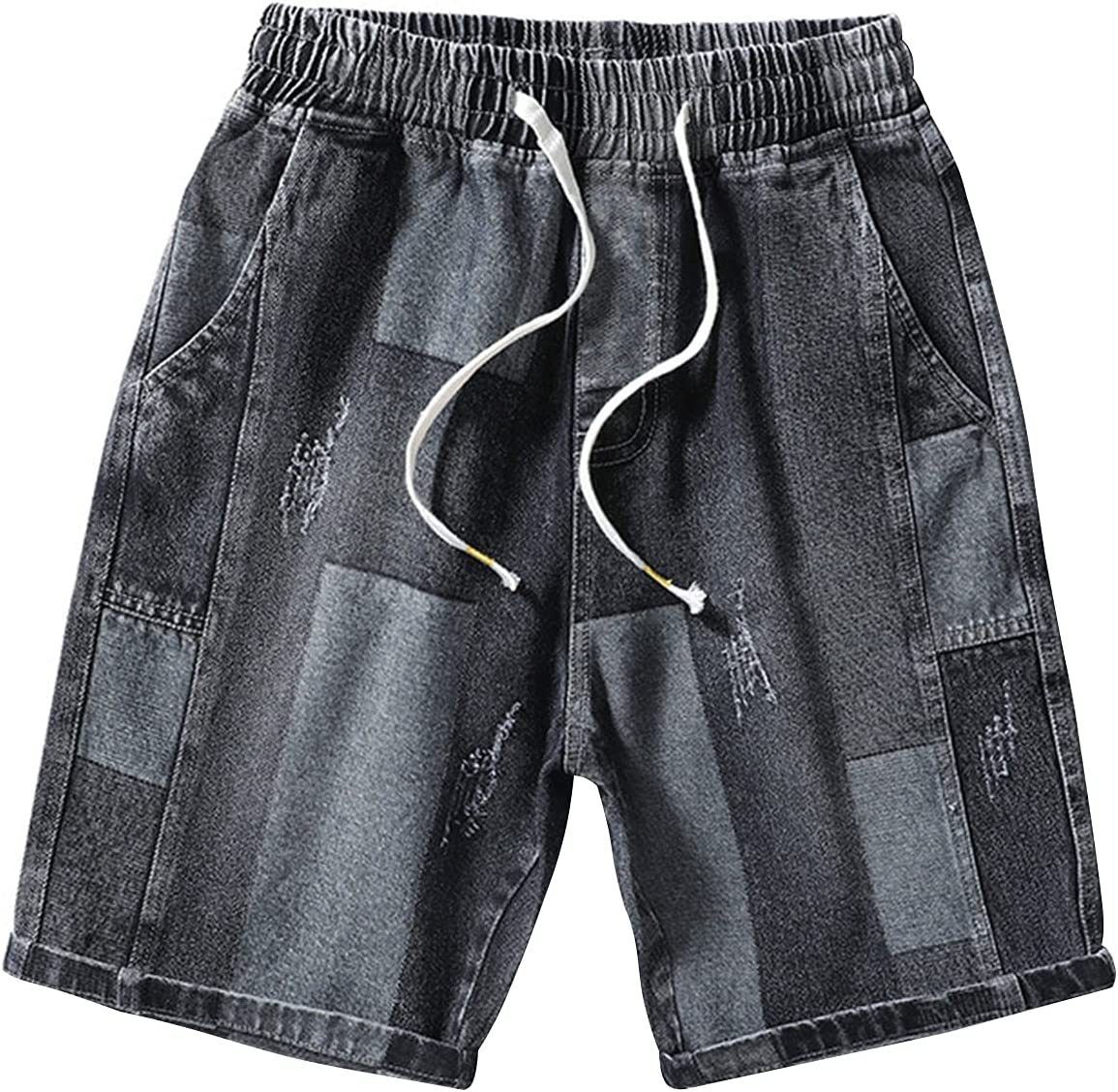 Men's Casual Baggy Straight Fit Jean Shorts Drawstring Jogging Denim Short Knee Length Splicing Summer Ripped Jeans Shorts (Black 3,Large)
