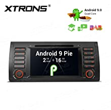 XTRONS Android 9.0 Car Stereo Radio DVD Player GPS Navigator 7 Inch Touch Display Head Unit Supports Bluetooth 5.0 WiFi Car Auto Play Backup Camera DVR OBD TPMS Full RCA Output for BMW X5 E53