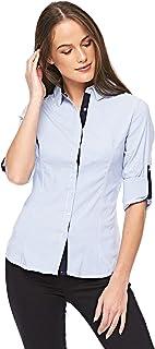 Diva London Blue Shirt Neck Shirts For Women