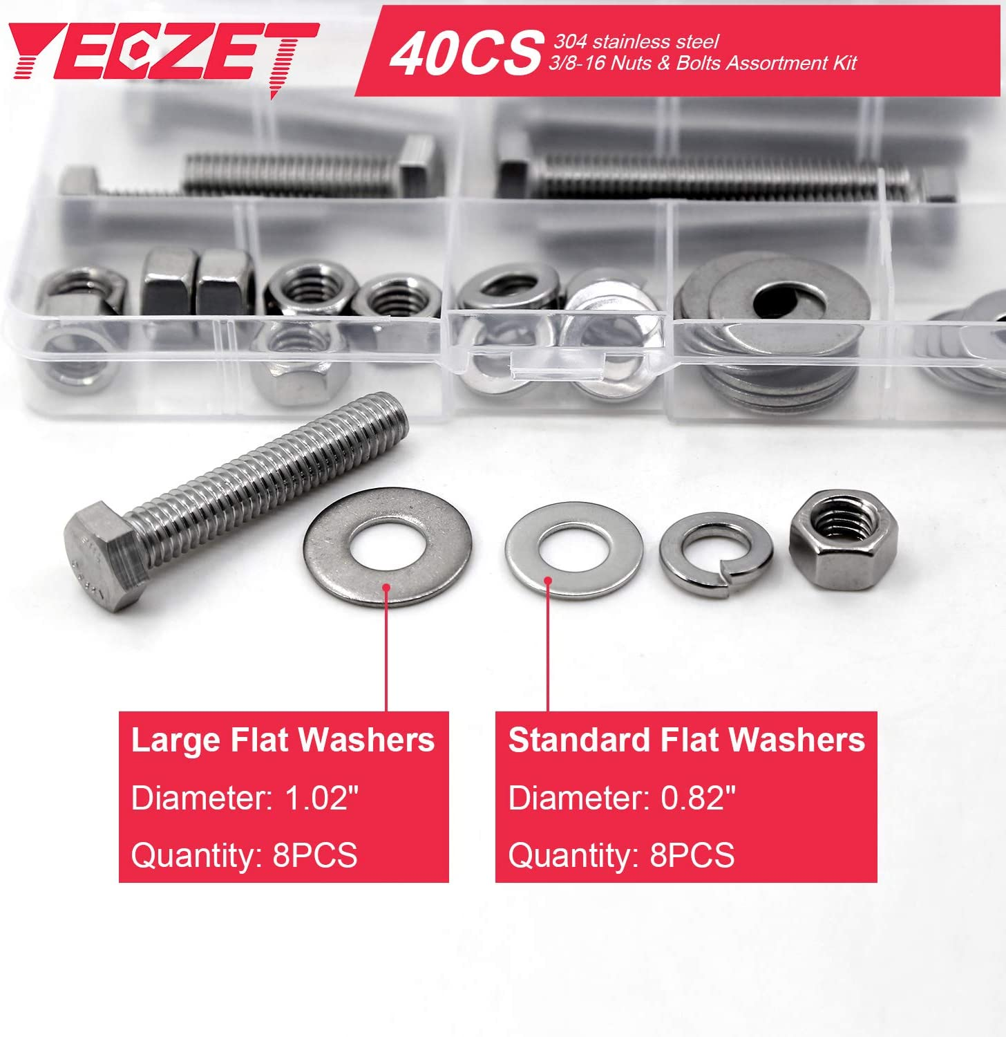 1000Pcs//Lot Stainless Steel Screws Bolts With Hex Nuts Washers Assortment Kit US
