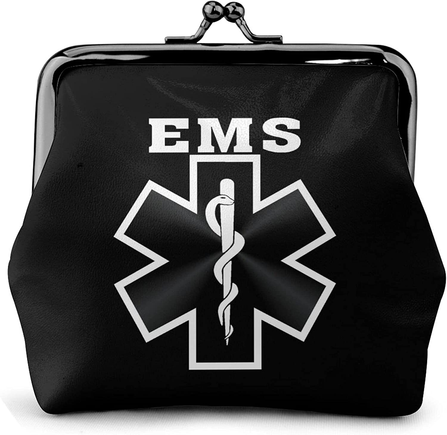 American Flag Ems Star Of Life Emt Paramedic Medic Leather Squeeze Coin Purse Pouch Change Holder For Men & Women